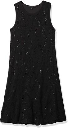Tiana B Women's Lace Sequence Trapeze Dress with Bottom Flounce Sleeveless.
