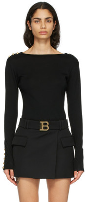 Balmain Black Button Long Sleeve T-Shirt