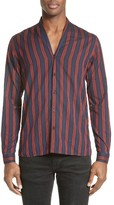The Kooples Men's Shades Of Red Stripe Sport Shirt