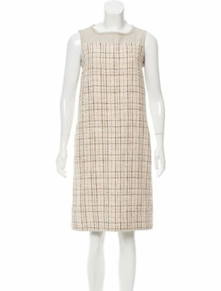 Max Mara Tweed Shift Dress Beige Tweed Shift Dress