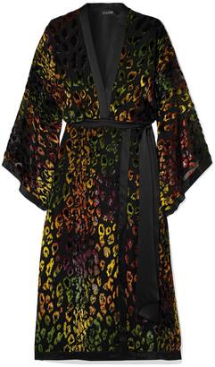 Saloni Suki Satin-trimmed Flocked Crepe De Chine And Chiffon Wrap-effect Dress
