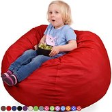 Oversized Bean Bag Chair in Flaming Red - Machine Washable Big Soft Comfort Cover with Memory Foam Filler - Cozy Lounger & Bed - Kids & Teens Love This Huge Sack - by Panda Sleep
