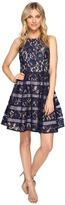 Aidan Mattox Halter Lace w/ Shadow Stripe Detail Dress