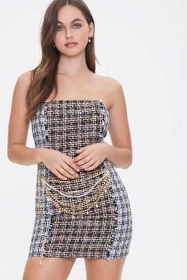 Forever 21 Tweed Chain Belt Tube Dress