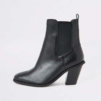River Island Womens Black western high heel boots