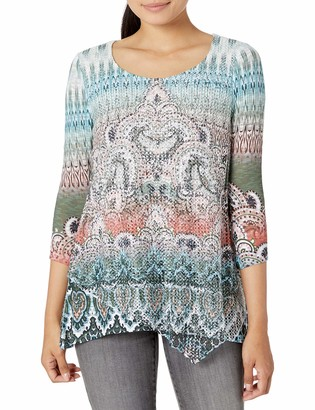 One World ONEWORLD Women's 3/4 Sleeve Textured Knit Overlay Top