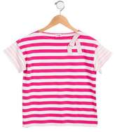 Il Gufo Girls' Striped Short Sleeve Top