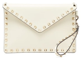 Valentino Rockstud Leather Pouch - Ivory