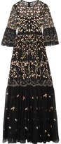 Needle & Thread Climbing Blossom Embellished Embroidered Tulle Gown - Black