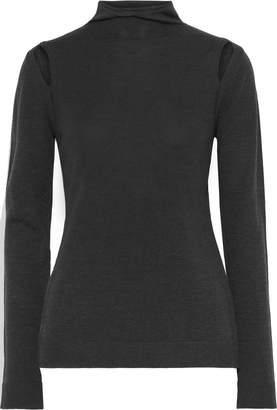 Elie Tahari Cutout Merino Wool Turtleneck Top