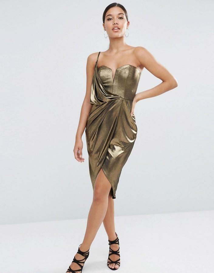 Asos Asymmetric Wrap Front Midi Metallic Dress