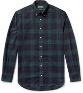 Gitman Brothers Button-down Collar Black Watch Checked Brushed-cotton Flannel Shirt - Dark green