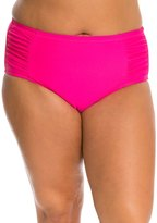 Jessica Simpson Plus Size Solid Shirred High Waist Bikini Bottom 8124036