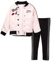 Betsey Johnson Lip Print Tee, Satin Bomber & Sparkle Trim Legging Set (Toddler Girls)