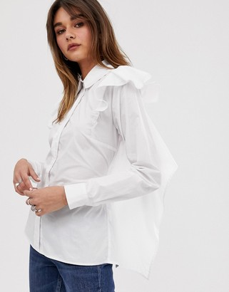 2nd Day Frolic open back ruffle shirt with tie detail-White