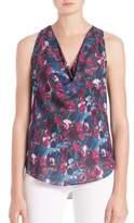 Haute Hippie Floral-Print Cowlneck Silk Tank