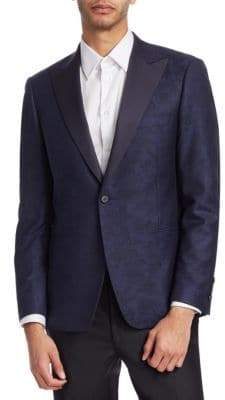 Saks Fifth Avenue Men's COLLECTION BY SAMUELSOHN Classic-Fit Floral-Print Wool Dinner Jacket - Navy - Size 46 R