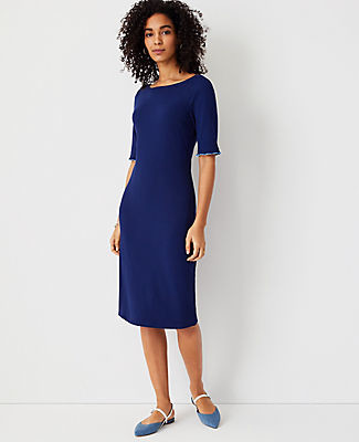 Ann Taylor Tipped Ruffle Cuff Sheath Dress