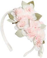 MonnaLisa Grosgrain Headband W/ Crepe Flowers