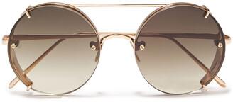 Linda Farrow Round-frame Rose Gold-tone Sunglasses