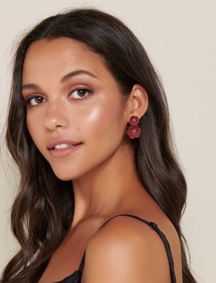Ever New Camy Coated Flower Under-Ear Earrings
