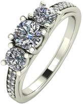 Moissanite 9ct White Gold 1.10ct Trilogy Ring With Set Shoulders