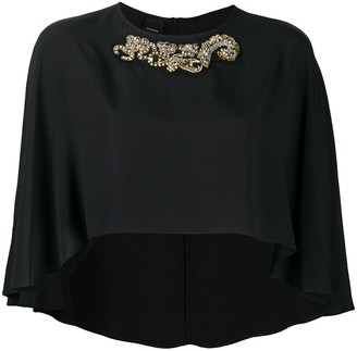 Pinko Cropped Cape Blouse