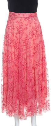 Burberry Pink Pleated Lace Wilton Midi Skirt L