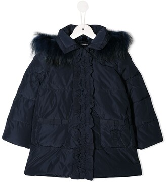 MonnaLisa Ruffled Faux-Fur Puffer-Jacket