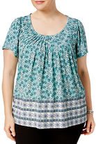 Style And Co. Plus Plus Pleated-Neck Mixed-Print Top