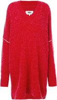 MM6 MAISON MARGIELA oversized v-neck jumper - women - Acrylic/Polyamide/Spandex/Elastane/Wool - XS