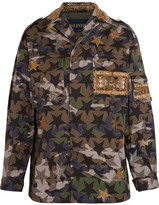 Valentino Embellished Camouflage-print Cotton-twill Jacket - Army green