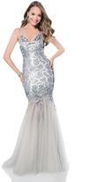 Terani Evening - 1611GL0495A Sequined V-neck Tulle Trumpet Dress