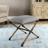 The Well Appointed House Small Striped Nautical Bench with Rope Accents