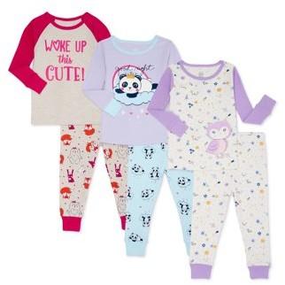 Wonder Nation Baby Toddler Girl Long Sleeve Snug Fit Cotton Pajamas, 6-Piece Set