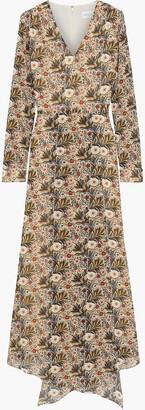 Mikael Aghal Asymmetric Wrap-effect Printed Crepe De Chine Maxi Dress