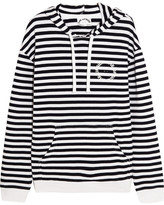 The Upside Rimini Striped Cotton-terry Hooded Top - Navy