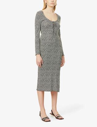 Topshop Floral-print stretch-woven midi dress