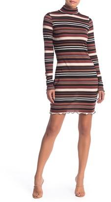 Free Press Mock Neck Long Sleeve Striped Print Dress