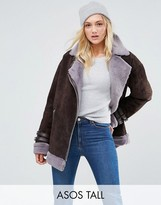ASOS Tall ASOS TALL Suede Aviator with Faux Shearling