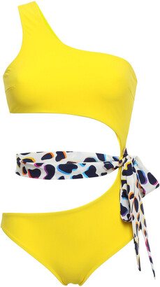 Emma Pake Fabia One-shoulder Belted Cutout Swimsuit