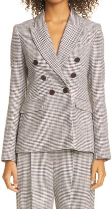 Adam Lippes Plaid Double Breasted Silk, Linen & Wool Blazer