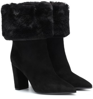 Gianvito Rossi Faux fur-trimmed suede ankle boots