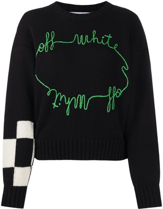 Off-White Checker Embroidered Jumper