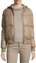 Ralph Lauren Hooded Leather Puffer Jacket, Taupe