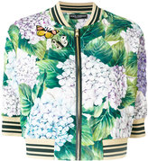 Dolce & Gabbana hydrangea print bomber jacket - women - Silk/Sheep Skin/Shearling/Spandex/Elastane - 38
