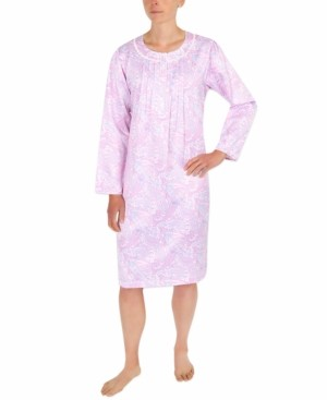 Miss Elaine Brushed-Back Satin Printed Nightgown