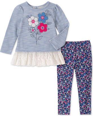 Kids Headquarters Baby Girls 2-Pc. Lace-Hem Tunic & Floral-Print Leggings Set
