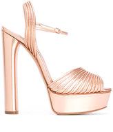 Casadei ribbed platform sandals - women - Leather/Kid Leather - 38.5