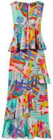 House of Holland Nova Ruffled Printed Satin Maxi Dress - Mint